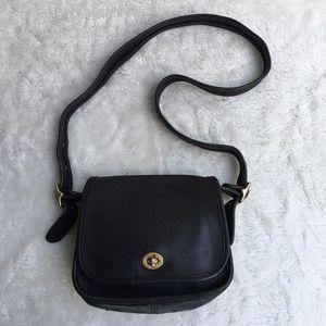 Vintage Coach Legacy Black Flap Crossbody Bag